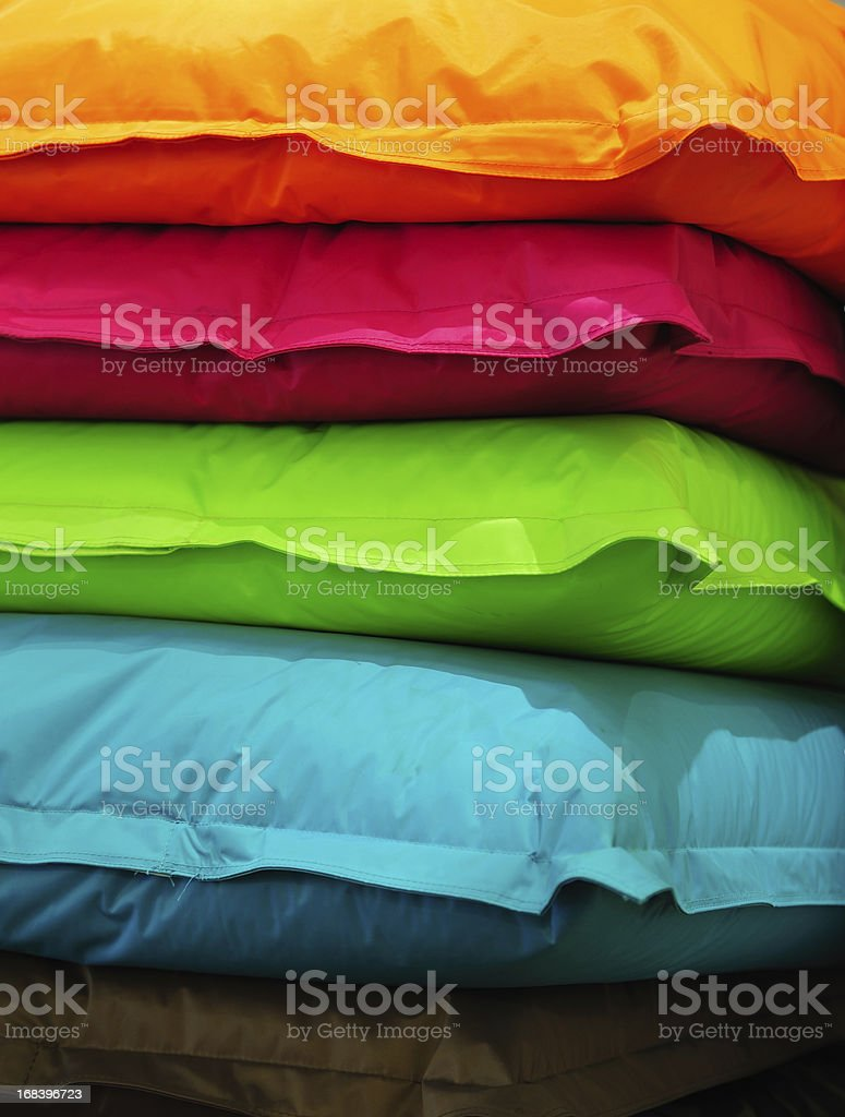 Piles of pillows stock photo