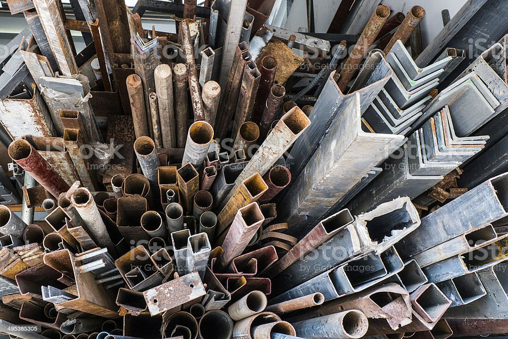 Piles of rusty scrap metal stock photo