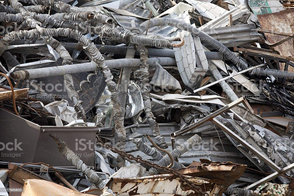 Piles of rusty scrap metal; recycling and environmental conserva royalty-free stock photo