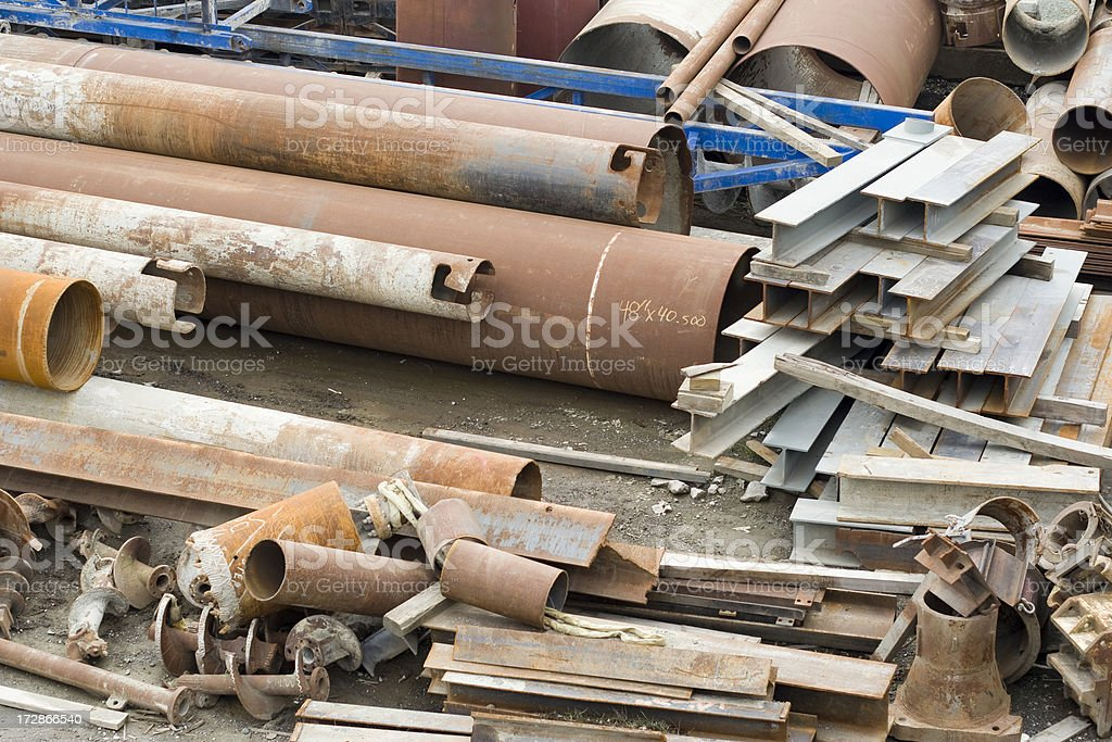 Piles of rusty scrap metal; recycling and environmental conservation royalty-free stock photo