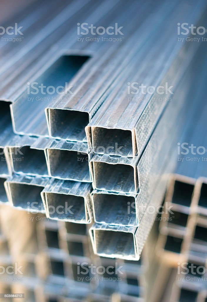 Piles of steel pipe, closeup photo stock photo