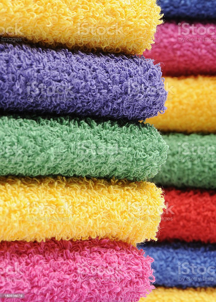 Piles or colorful towels royalty-free stock photo