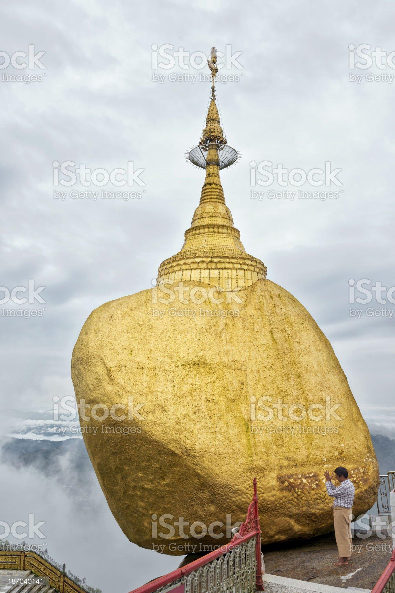 Pilgrim at the Golden Rock royalty-free stock photo