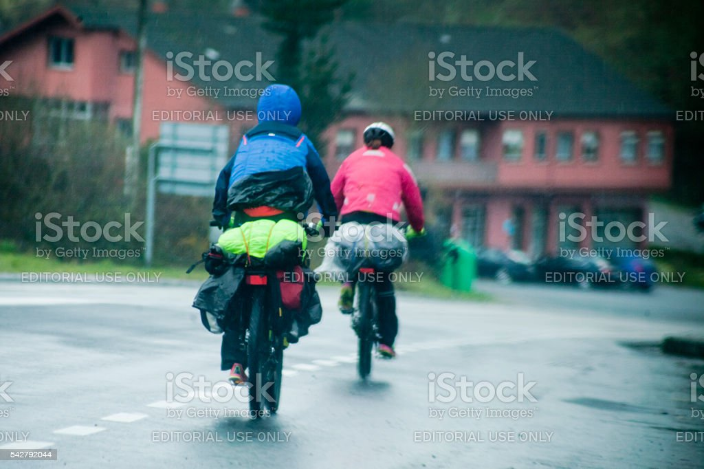 Pilgrim cyclists along the 'camino de Santiago' stock photo