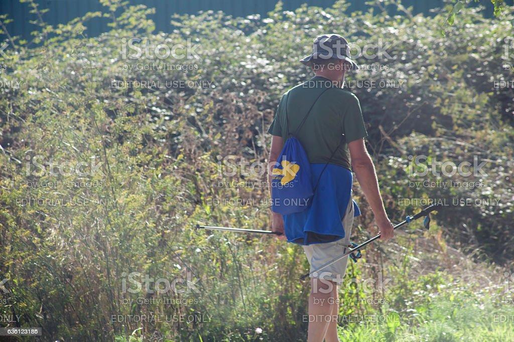 Pilgrim in the 'camino de Santiago', Galicia, Spain. stock photo