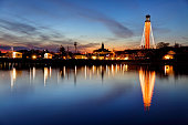 Pilgrim Monument on Cape Cod decorated with lights for Holidays