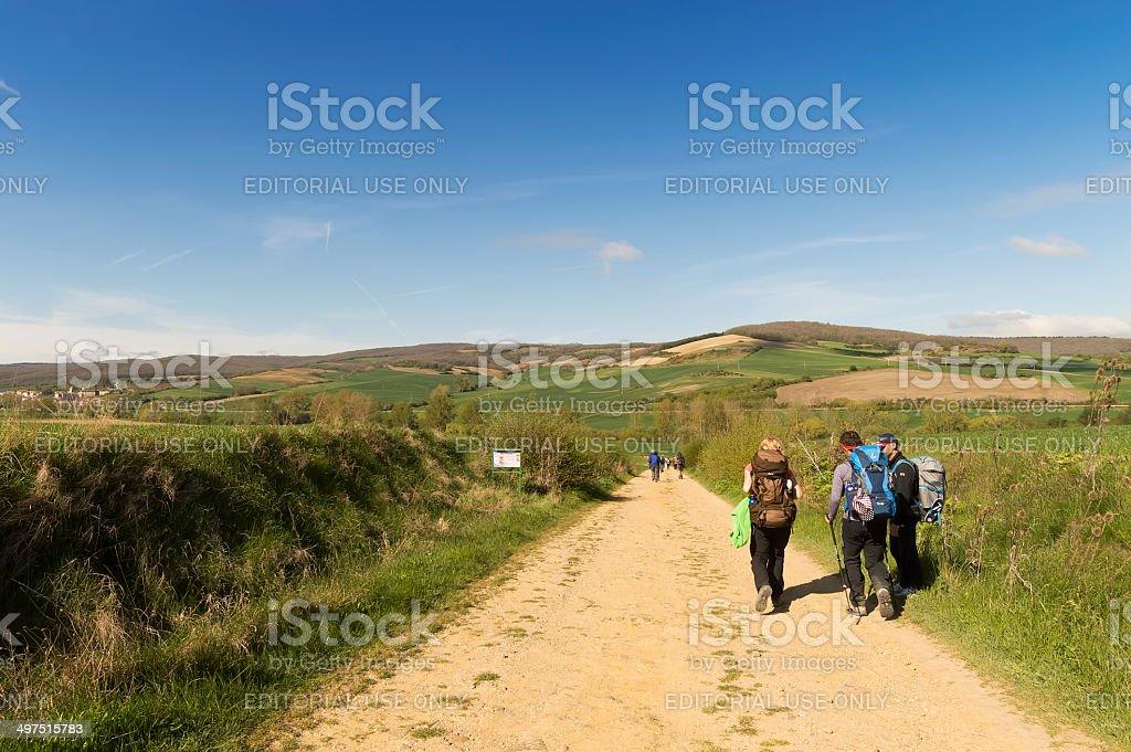 Pilgrim on the road to Santiago de Compostela in Burgos royalty-free stock photo