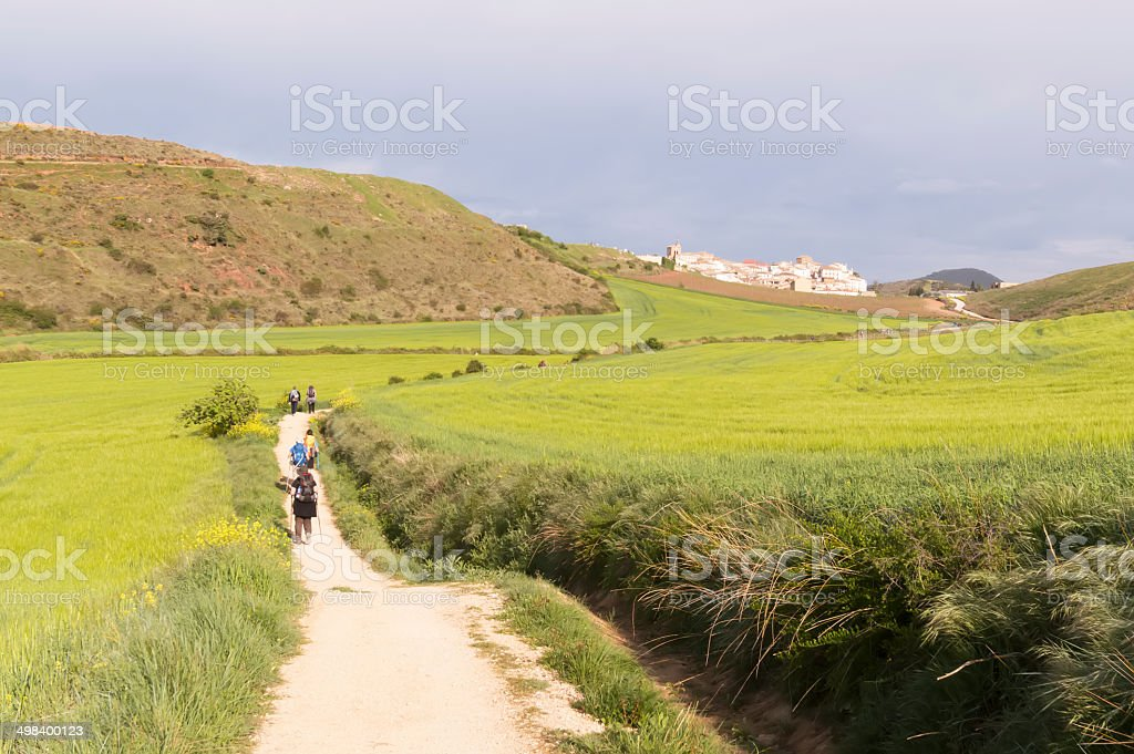 Pilgrim on the road to Santiago de Compostela in Burgos royalty-free stock photo
