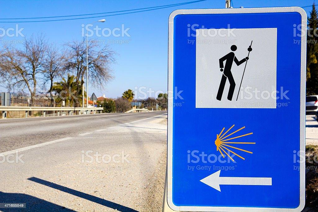 Pilgrim sign at the Camino de Compostella stock photo
