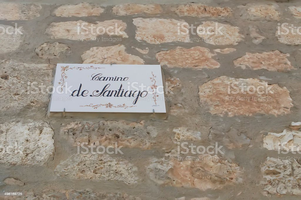 Pilgrim sign at the Camino de Santiago stock photo