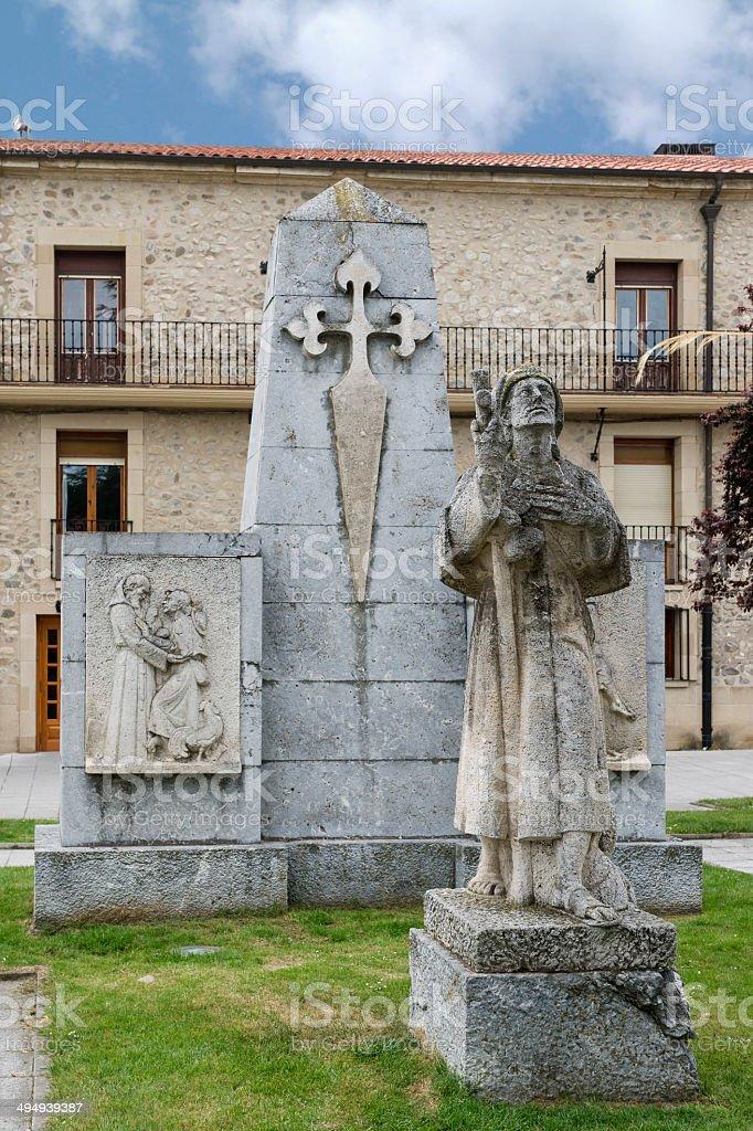 Pilgrim Statue. Santo Domingo de la Calzada, La Rioja. Spain. stock photo