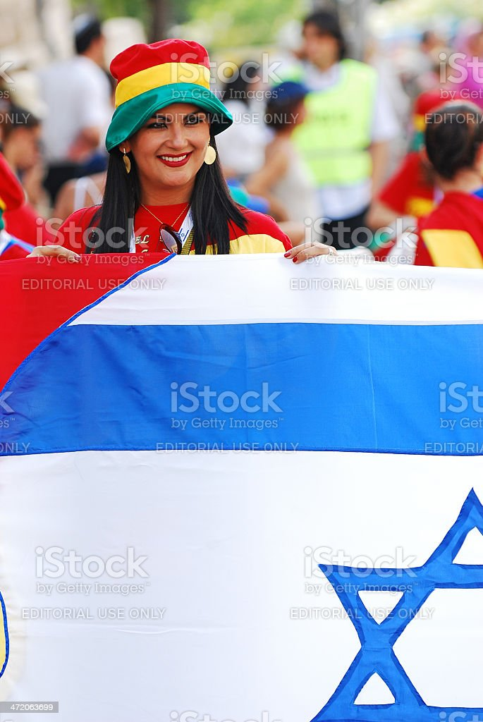 Pilgrim with flag of Israel. royalty-free stock photo