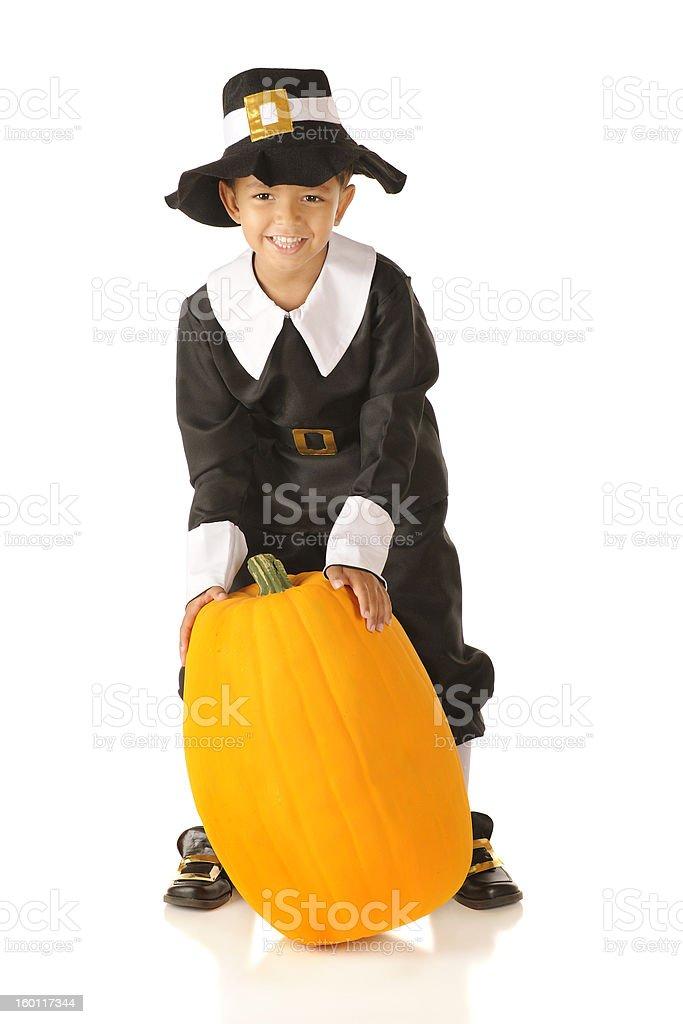 Pilgrim with Pumpkin royalty-free stock photo