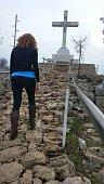 Pilgrim Woman Walking Rocky Terrain Hiking, Cross Mountain, Medjugorje