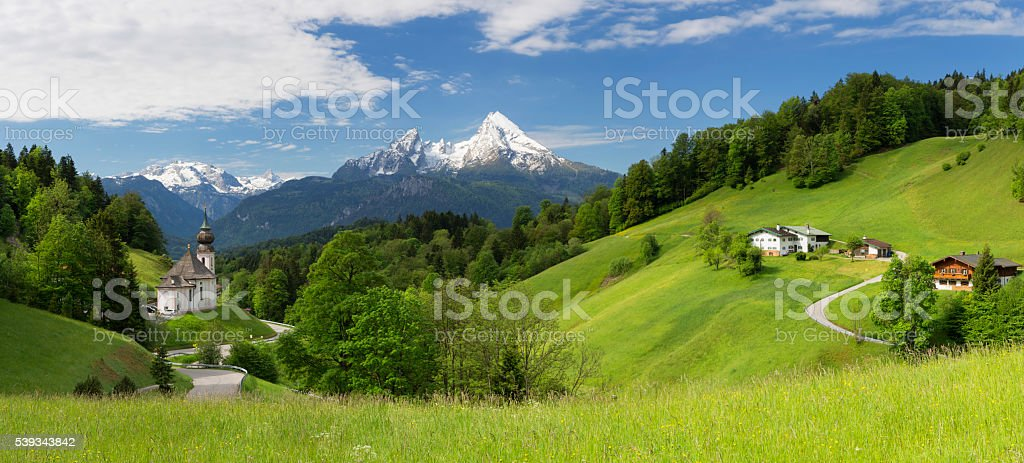 Pilgrimage Church Maria Gern with Watzmann in background stock photo