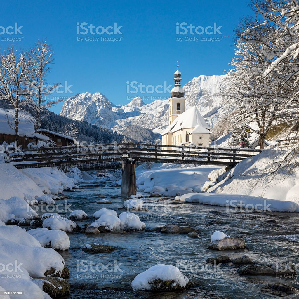 Pilgrimage Church St. Bastian in Ramsau at Winter stock photo