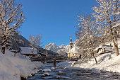 Pilgrimage Church St. Bastian in Ramsau at Winter