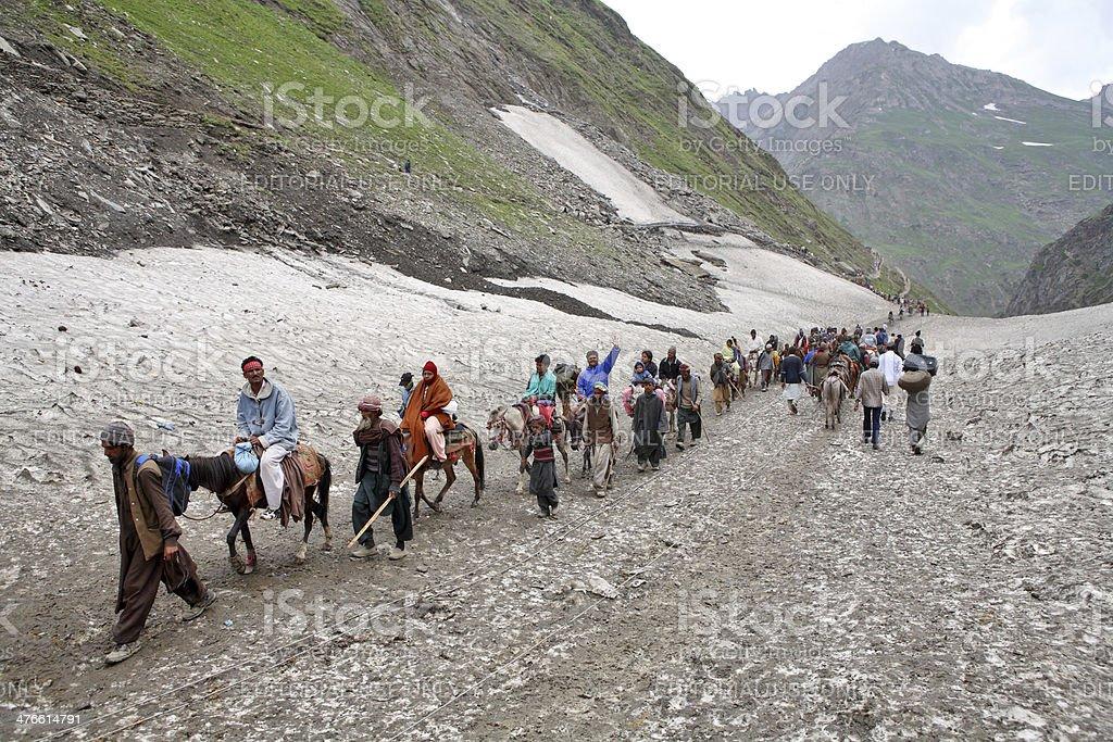 Pilgrimage to the holy Amarnath cave stock photo