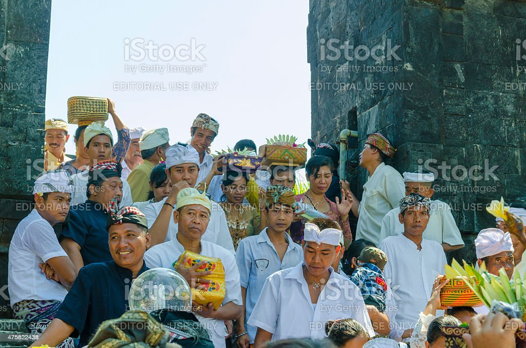 Pilgrims after visit at the priest in Temple Bali stock photo