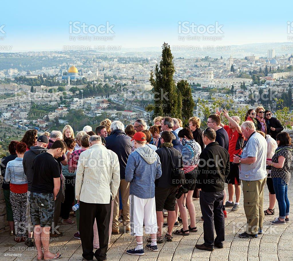 Pilgrims are praying at the beautiful view of Jerusalem stock photo