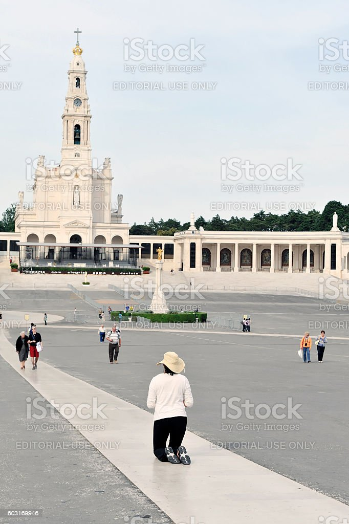 Pilgrims at Sanctuary Our Lady of Fatima in Portugal stock photo