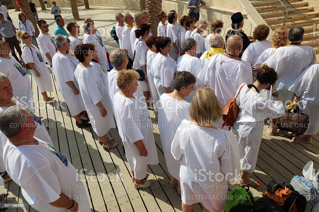 Pilgrims at the Baptism Site called Qasr el Yahud. Israel stock photo