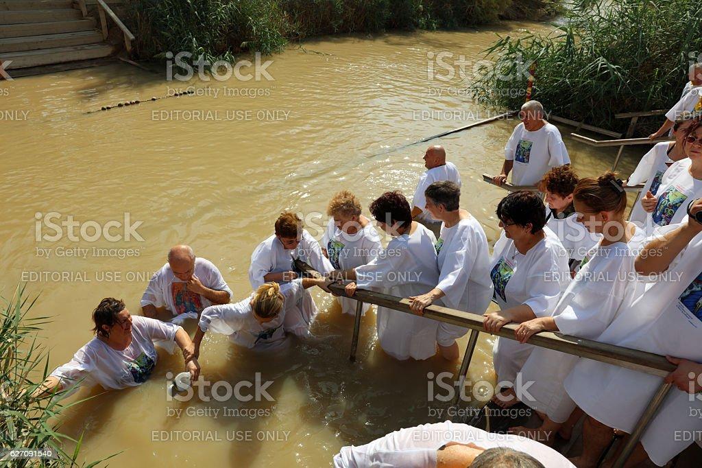 Pilgrims at the Baptism Site Qasr el Yahud. Israel stock photo