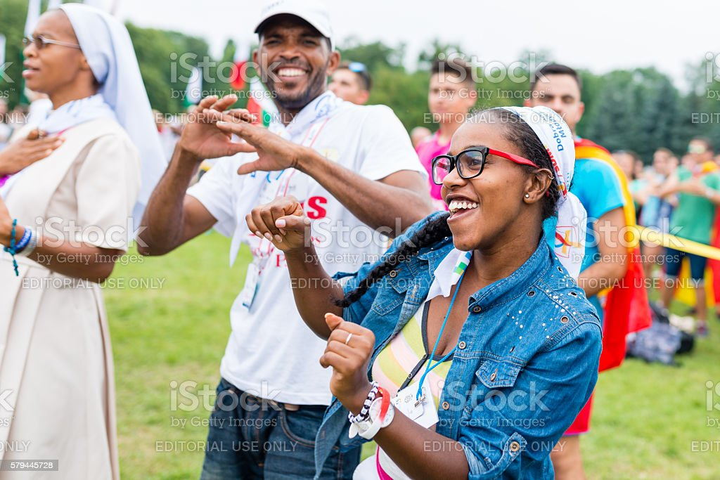 pilgrims during Days In Dioceses before The World Youth Day stock photo