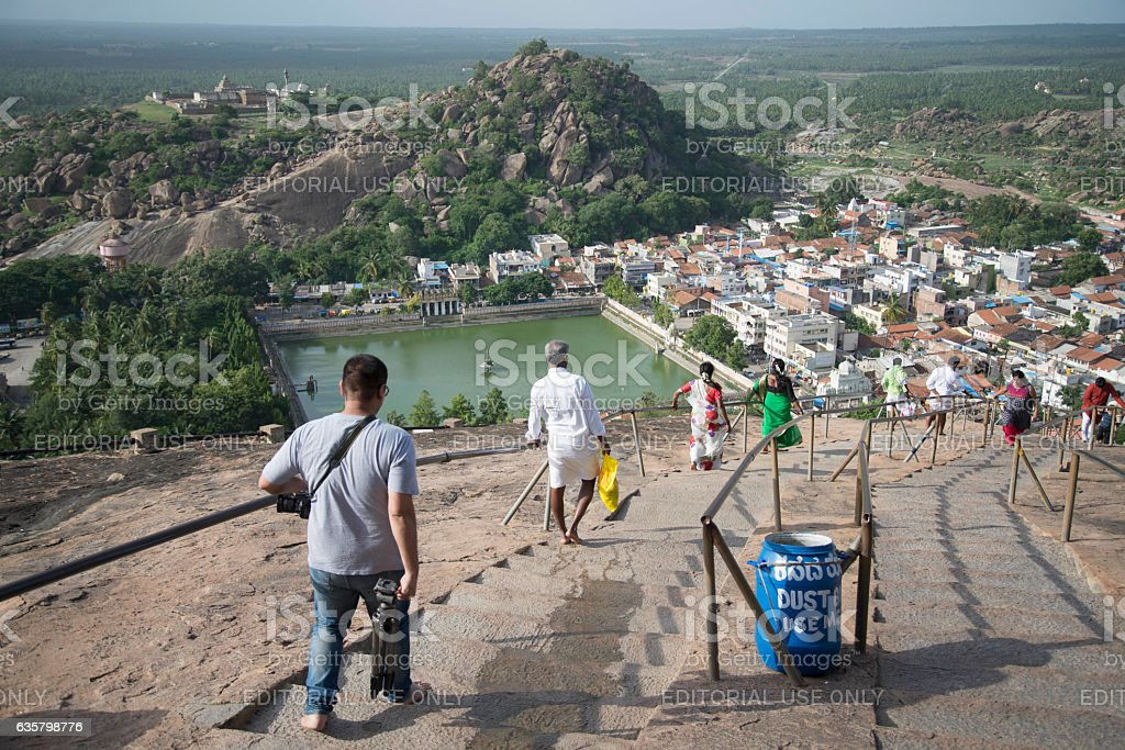 Pilgrims getting down the Vindhyagiri hill in Shravanabelagola. stock photo