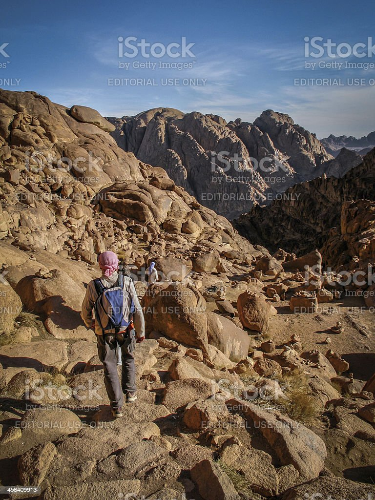 Pilgrims Hiking Down from the Top of Mount Sinai stock photo