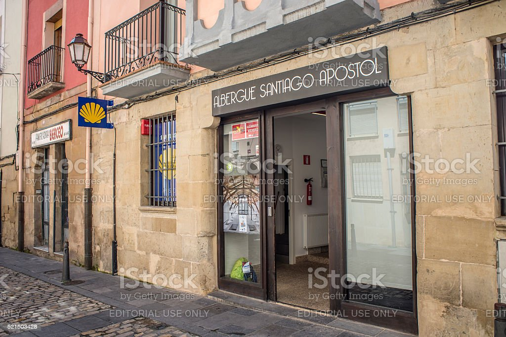 Pilgrims hostels of the Way of St. James in Logroño. stock photo