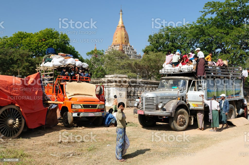 Pilgrims in Bagan, Myanmar stock photo