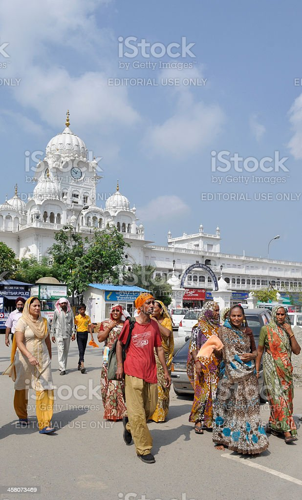 Pilgrims in Front of Golden Temple Amritsar royalty-free stock photo