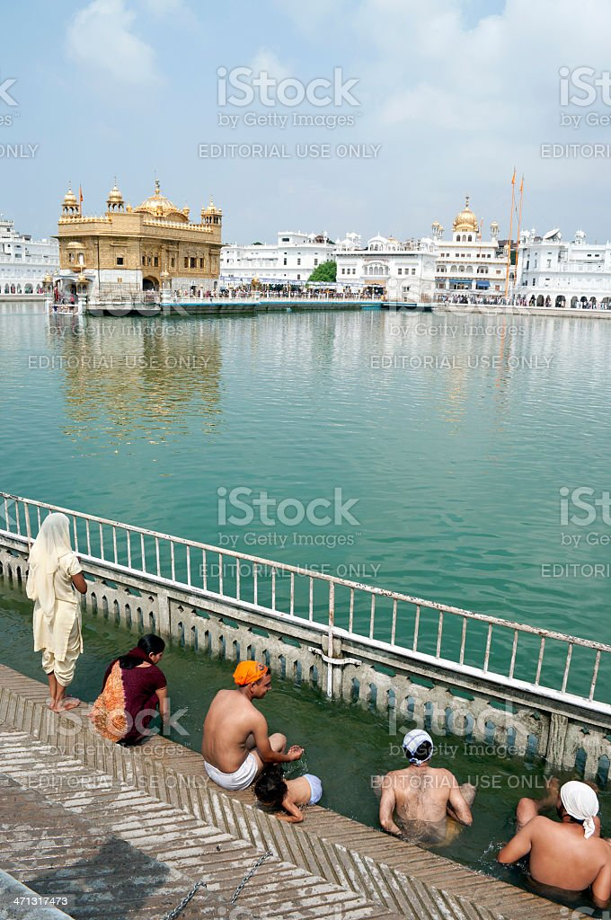 Pilgrims in Golden Temple Amritsar India royalty-free stock photo