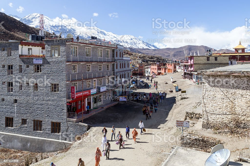 Pilgrims in Muktinath, Nepal stock photo