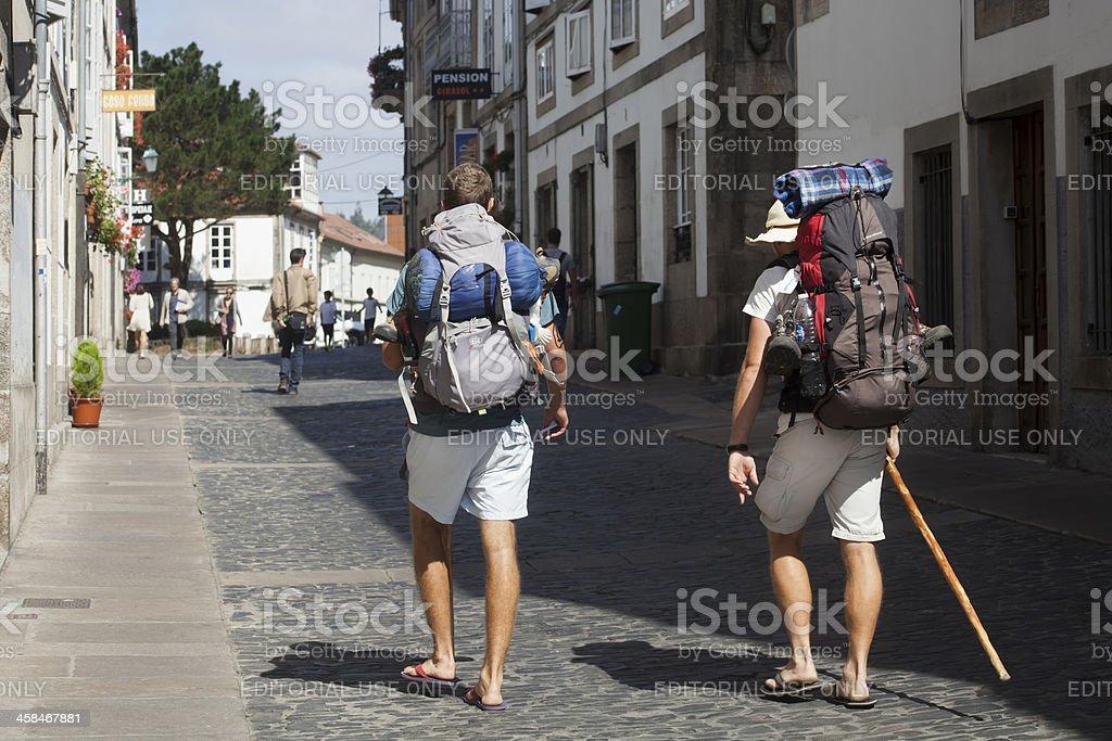 Pilgrims in Santiago de Compostela. stock photo