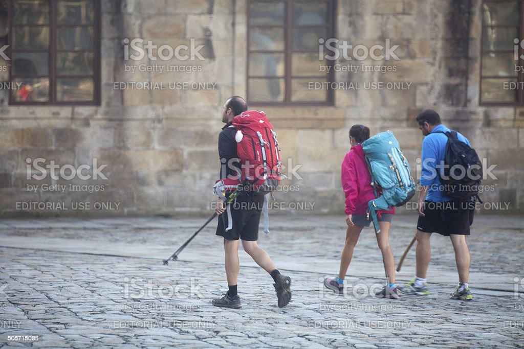 Pilgrims in Santiago de Compostela stock photo