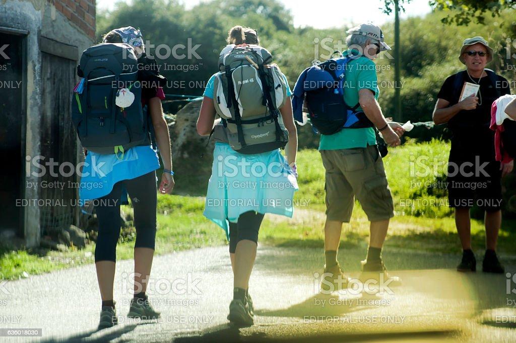 Pilgrims in the 'camino de Santiago'. stock photo