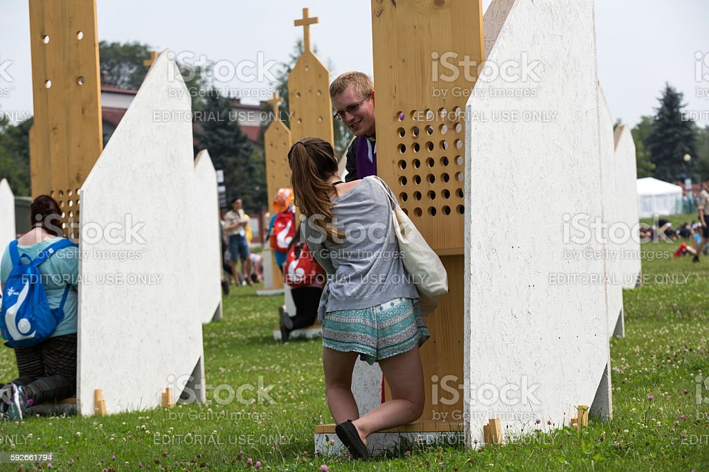 Pilgrims in Zone of Reconciliation at Sanctuary of Divine Mercy in Lagiewniki stock photo