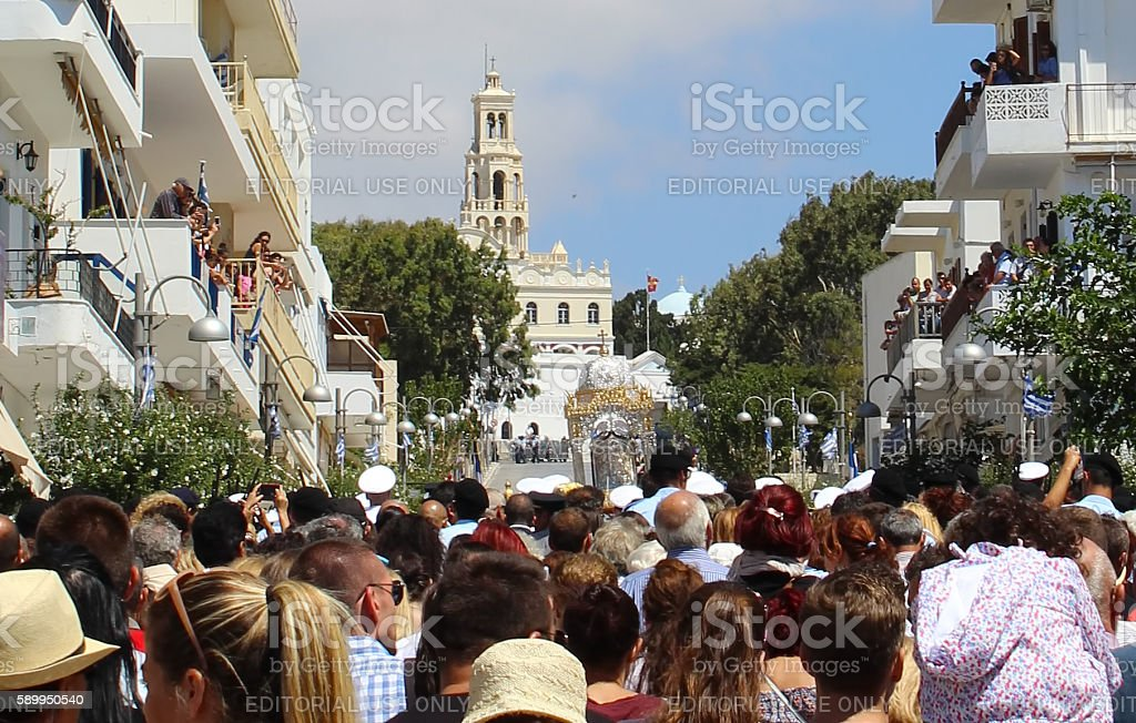 Pilgrims on Assumption Day Litany on Tinos island stock photo