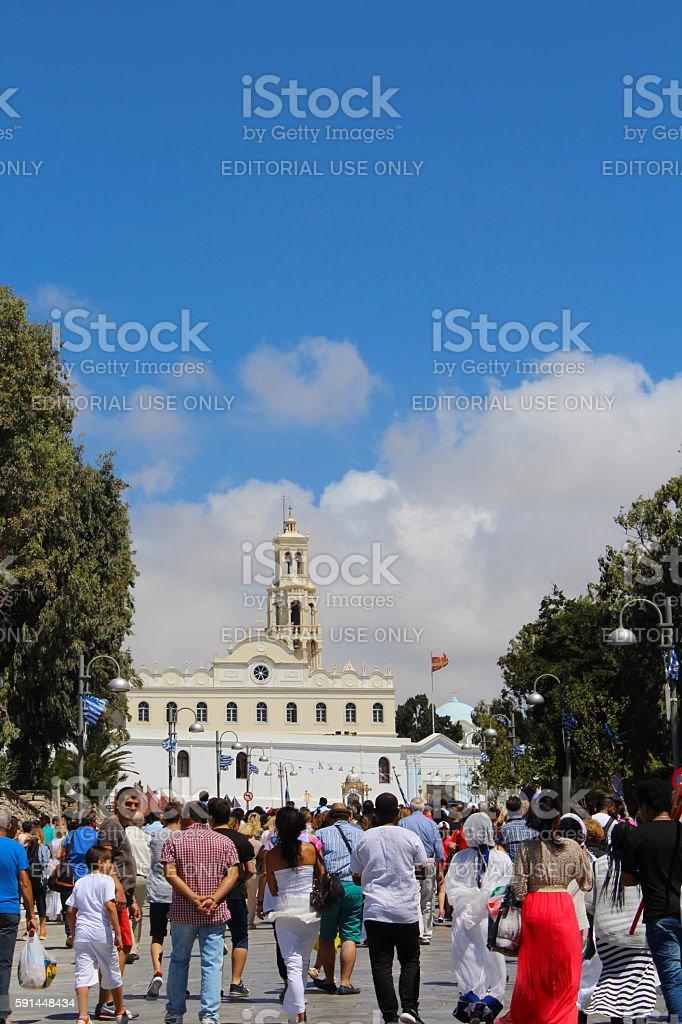 Pilgrims on Assumption Day litany on Tinos island stock photo