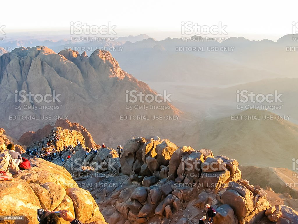 Pilgrims on Mount Sinai Egypt stock photo