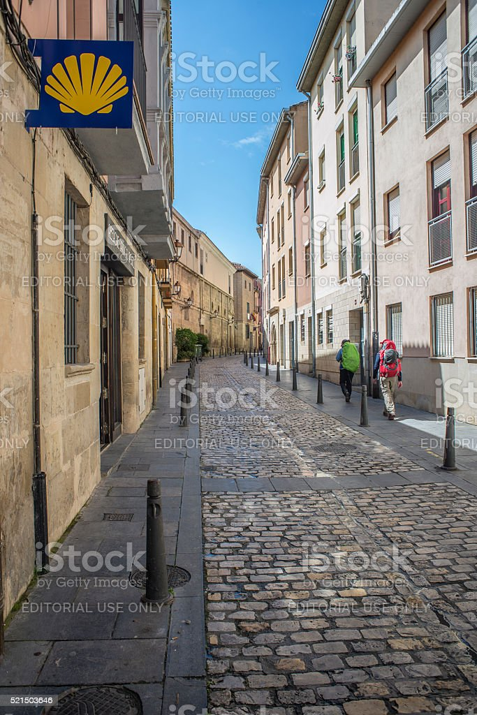 Pilgrims on the Way of St. James in Logroño. Spain. stock photo