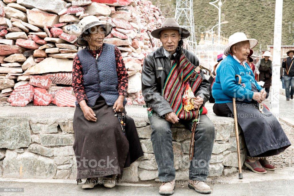 pilgrims resting stock photo