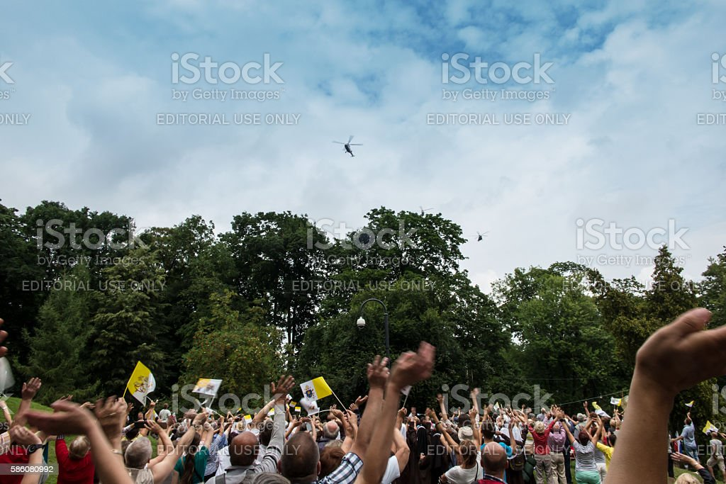 Pilgrims waiting for the arrival of Pope Francis  in Czestochowa stock photo