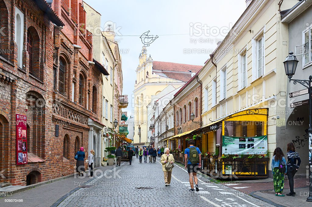 Pilies Street in Old Town, Vilnius stock photo