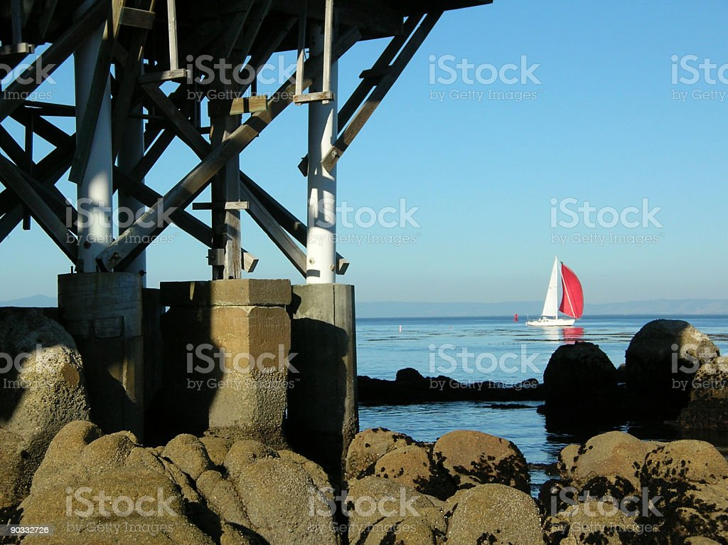 Pilings with sail boat in the distance. royalty-free stock photo