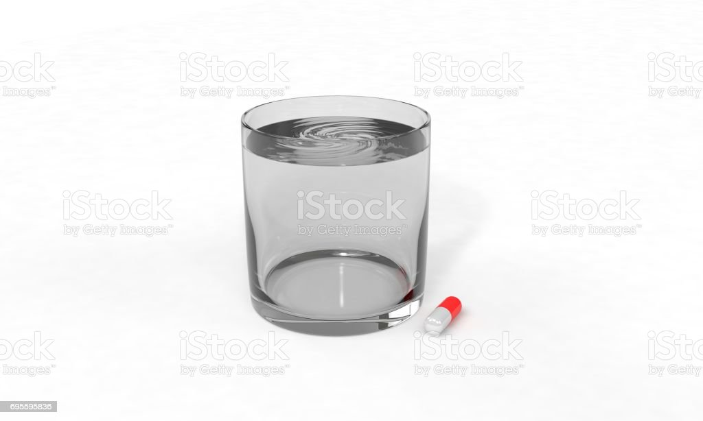 Pill and water of background, 3d render stock photo