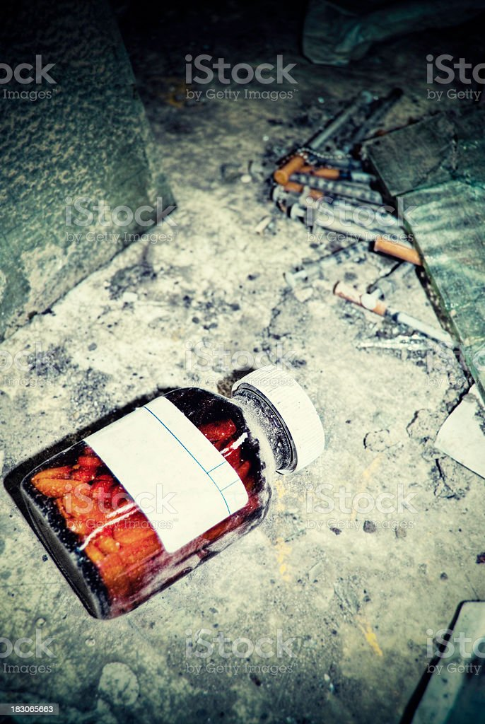Pill Bottle, drug den, cross processed, HDR image stock photo