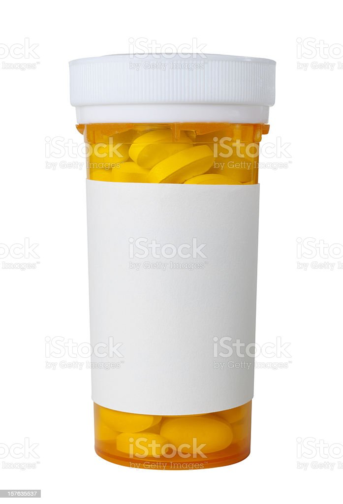 pill bottle with blank label royalty-free stock photo